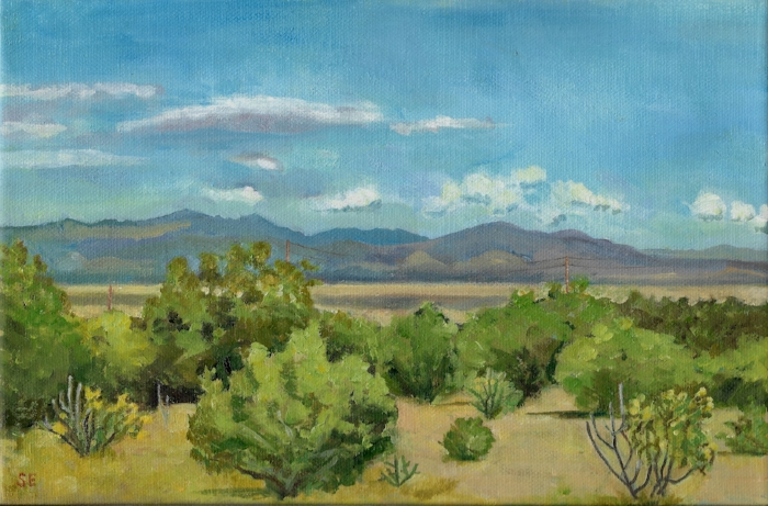 Plein air oil sketch of the view from the cabin I stayed in.