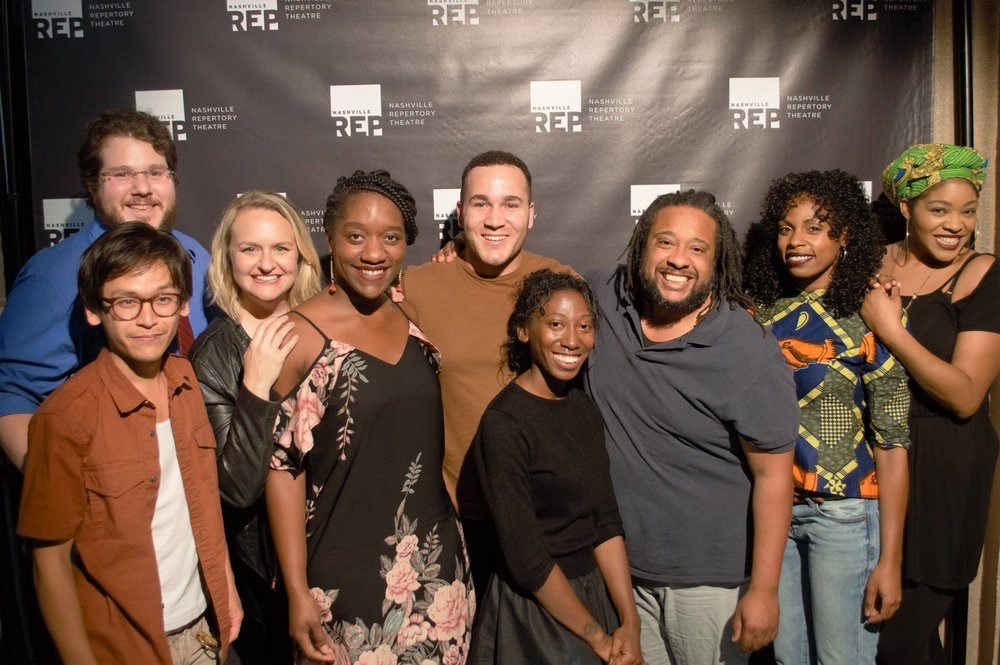 Playwright Stacy Osei-Kuffour with the cast of BIG NOSE at Nashville Rep's Ingram New Works Festival.