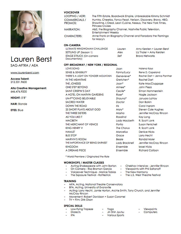voice over actress resume lauren berst
