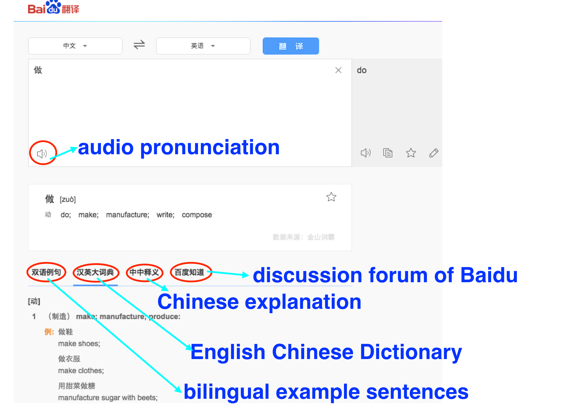 Online Chinese Dictionary, Baidu Translation