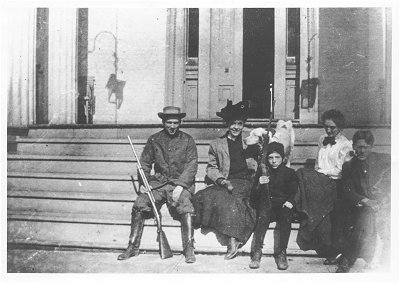 Duncan Cooper and Family on the steps of Riverwood Mansion