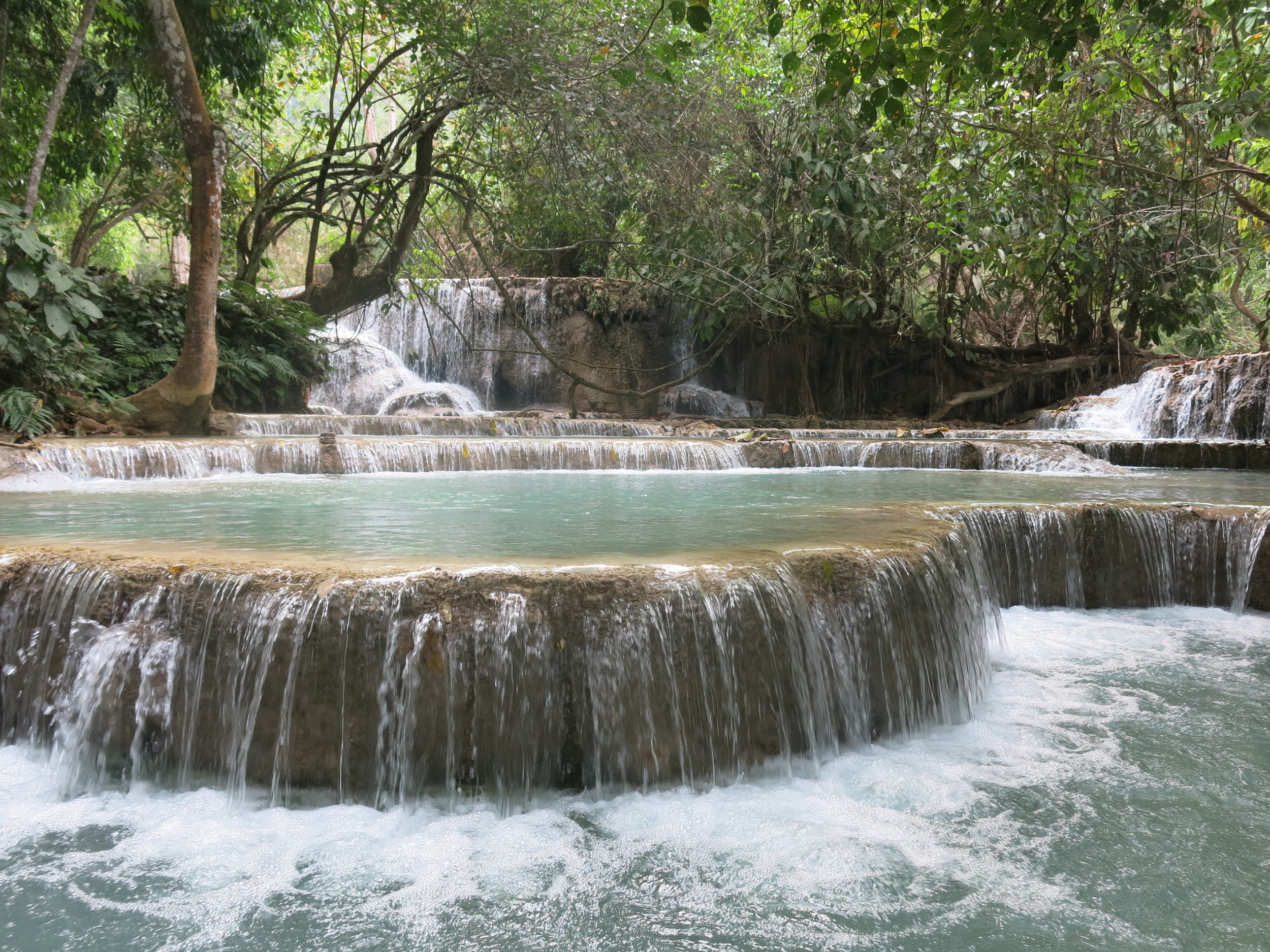Beautiful waterfall near Luang Prabang, Laos.