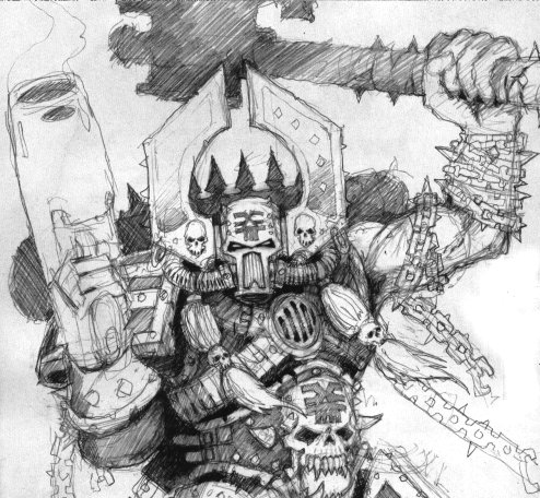 Sketch of Kharn by the incomparable Jes Goodwin. Was great to write about him again (Kharn, not Jes...)