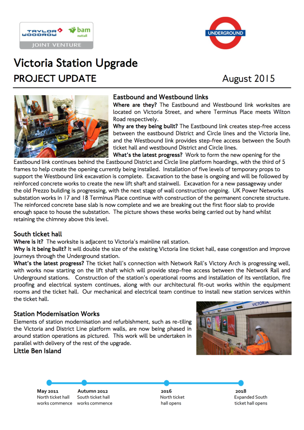 Victoria Station Update page one