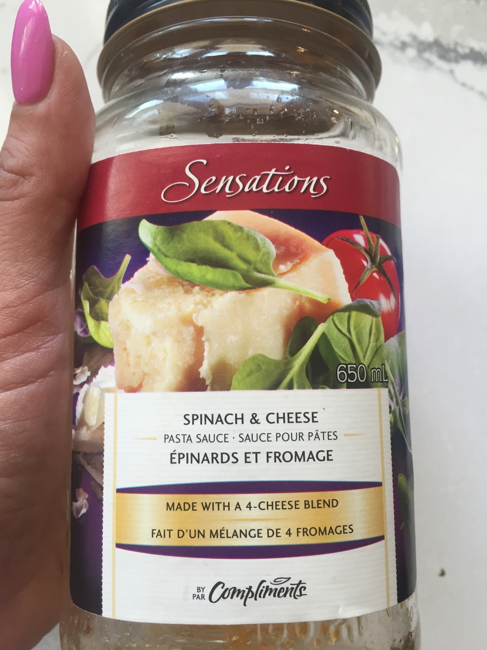 I buy already prepared sauce to make my life a little easier(because I usually make homemade sauce as well.) I like the sensations brand, by compliments, and I also love the Classico pre made sauce as well! The spinach and cheese works great for some extra flavour