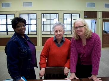 Linda Woodley, left with her friends Eutanaha Fluker and Anne Michie, volunteering her Saturday to help students complete the FAFSA.