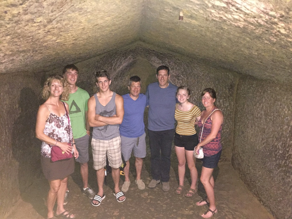 Etruscan burial chamber. 3 stories underground and hewn from solid rock of limestone and tufo.