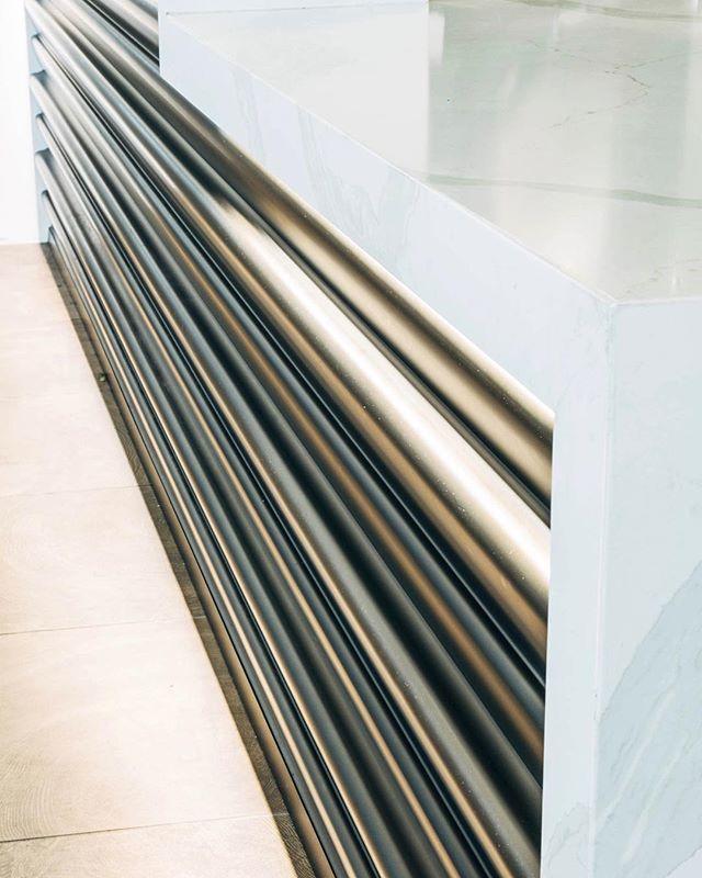 Reception Details | Texture and Light Revisions for Hyatt . . .  #interiordesign #hospitalitydesign #elkcollective #elkwork #renovation #details #hotel #lobbydesign #scalloped #metal #texture #bronzed