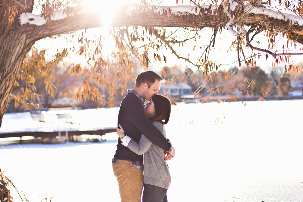 Colorado winter lake engagement shoot