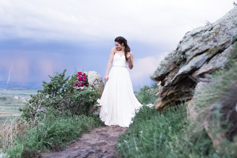 epic bride on top of mountain - Colorado Mountain Wedding Photographer