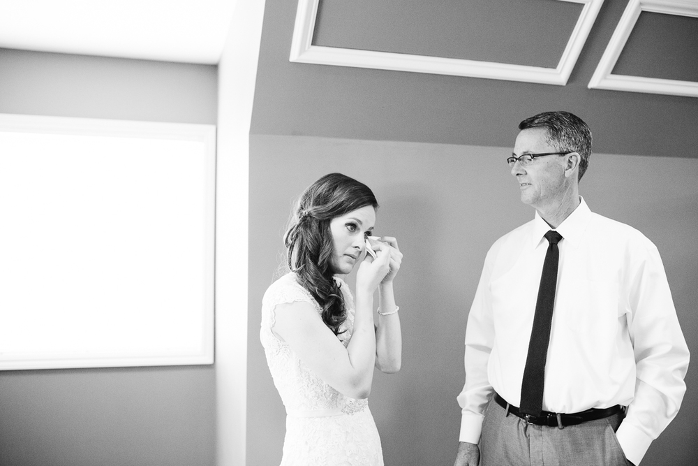 bride crying when dad sees her
