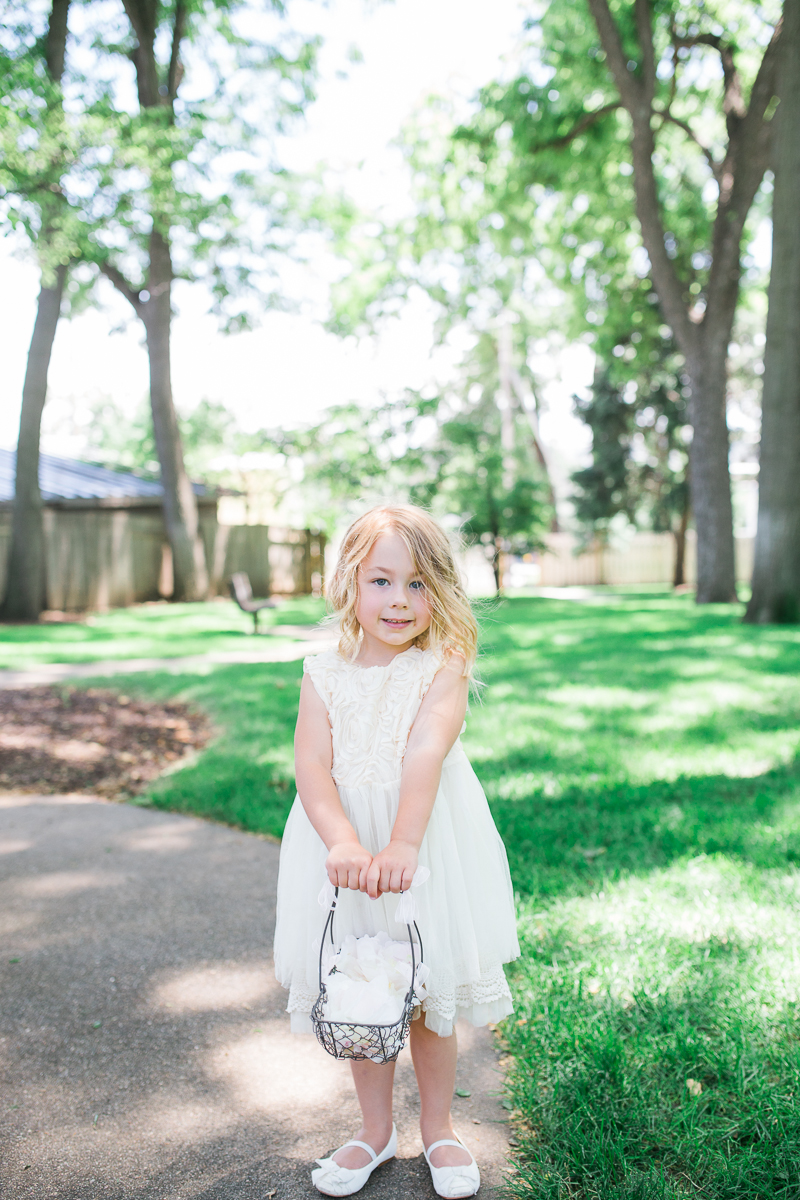 flowergirl in cream dress