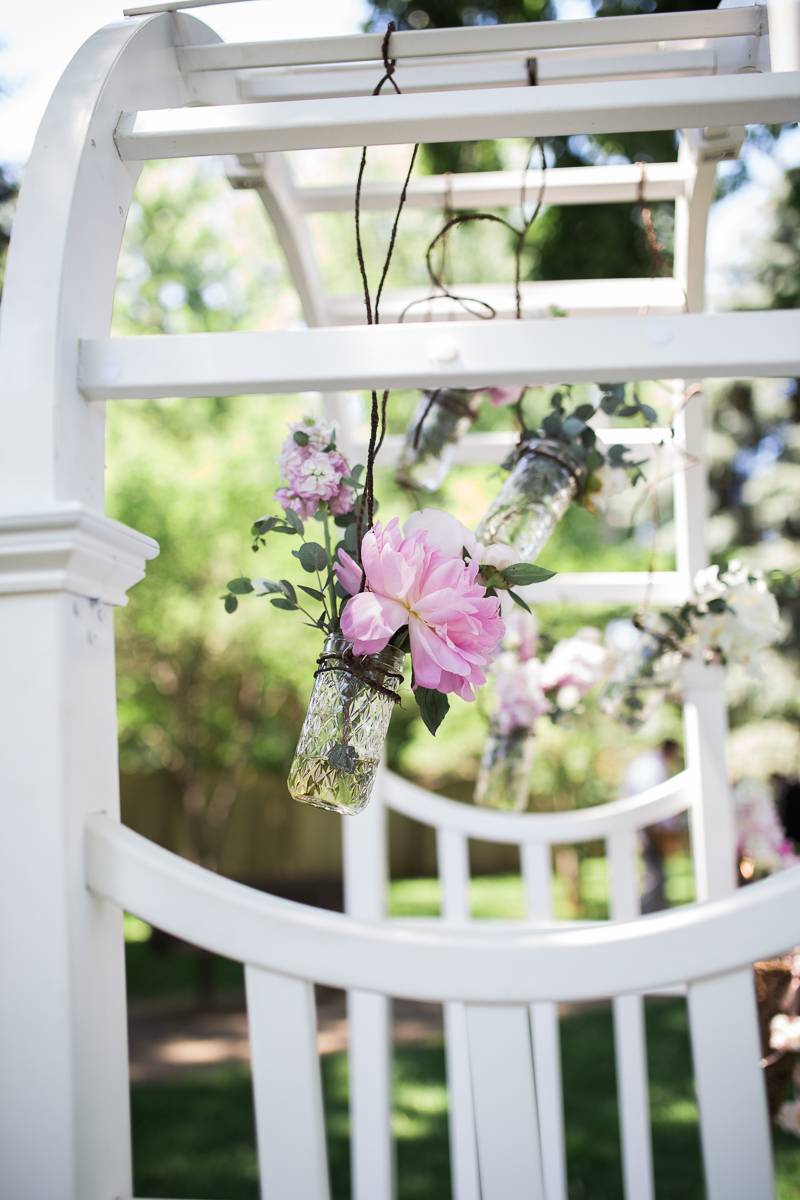 hanging mason jars with peonies