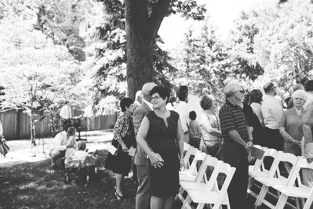 mom watching her son's reaction during ceremony