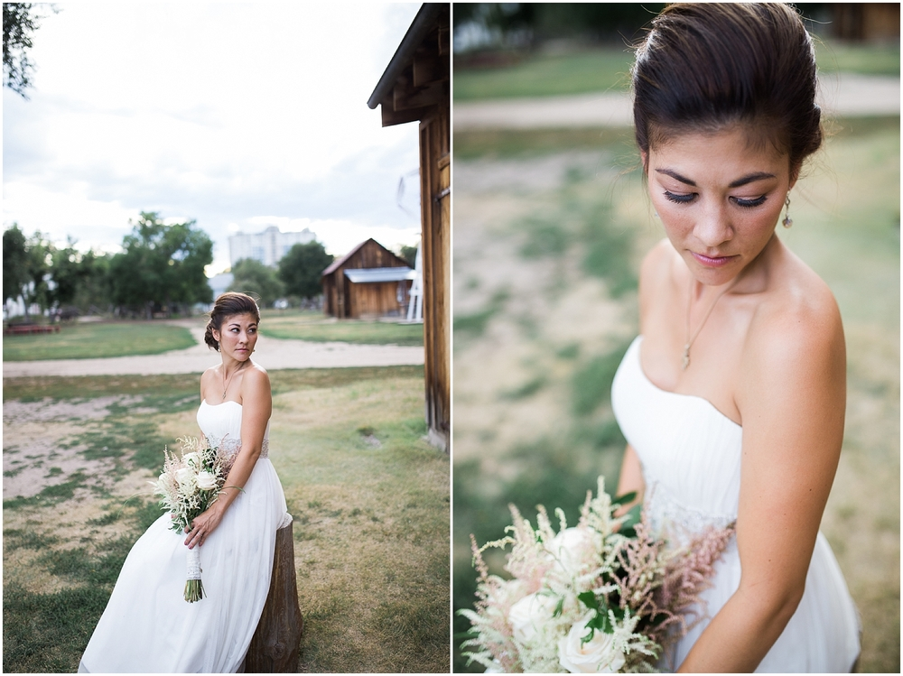 Bride at fourmile historic park wedding