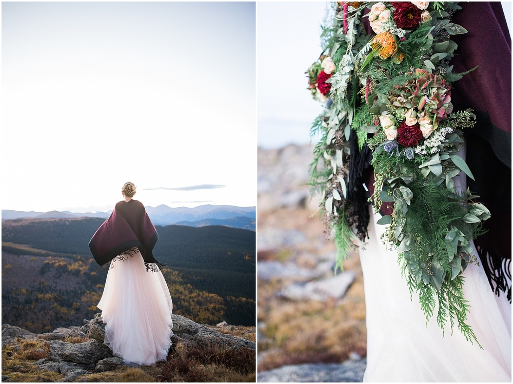 adventurous colorado bride on top of the mountains