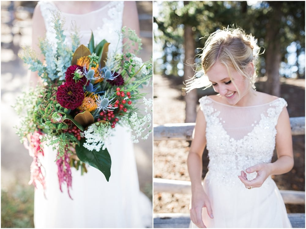 Colorado Mountain Wedding Photographer - green and maroon bridal bouquet