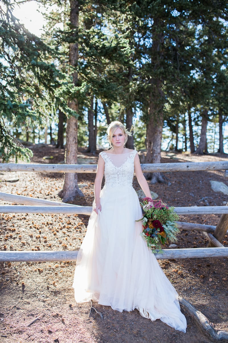Colorado Mountain Wedding Photographer - bride in the woods