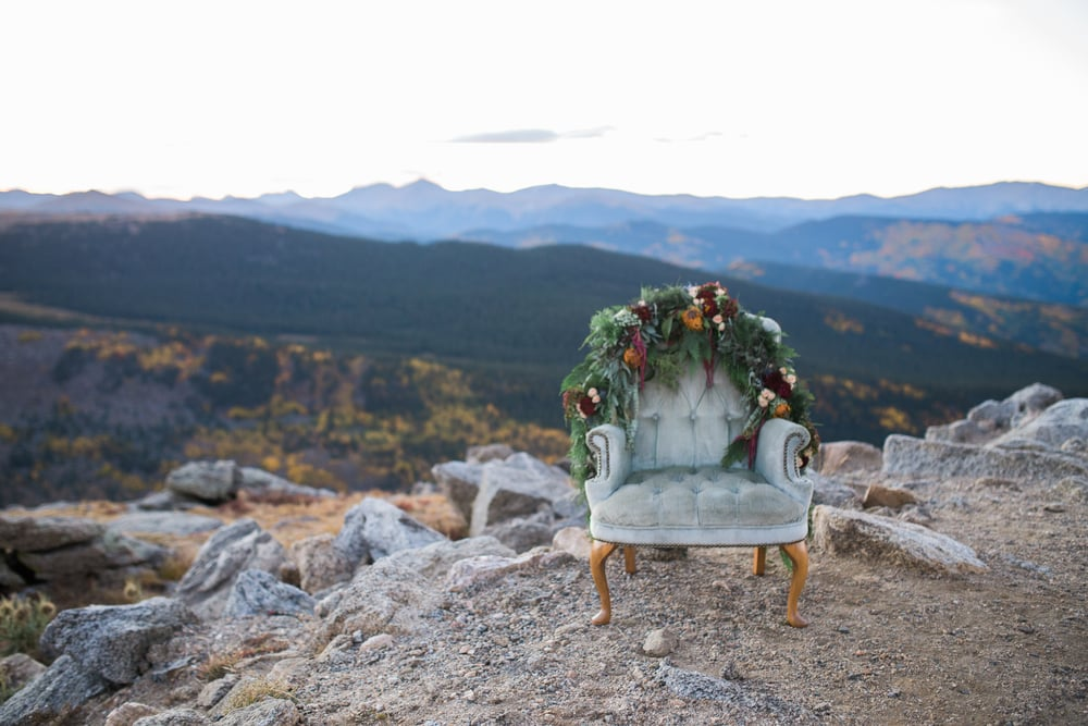 Colorado Mountain Wedding Photographer - bridal chair with flowers