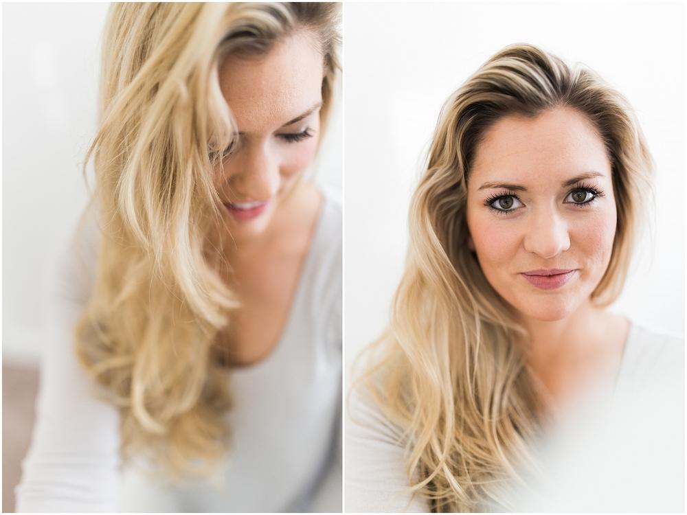 Blonde girl in white studio