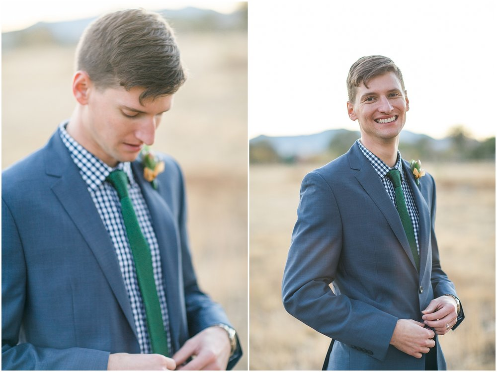 Navy blue and green groom