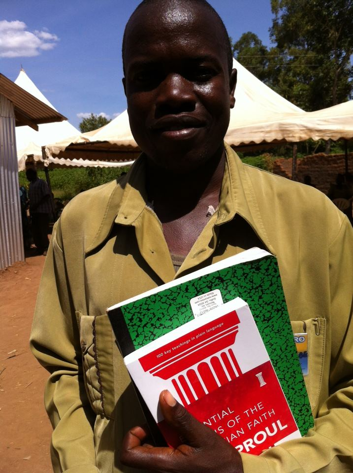 """This is Pastor Chepkombe from the Agape Mount Elgon fellowship. He is very grateful for the teaching sessions and free books from The Gospel Coalition. A special thank you to Bill Walsh from TGC and providing such an incredible FREE resource. We selected """"EssentialTruths of the Christian Faith"""" by RC Sproul. If you have an upcoming mission trip, check our  Packing Hope  at they website."""