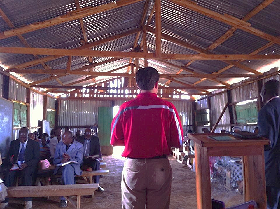 Dr. Blake Kersey preaching Sunday morning at a small Masai church in Kimana, Kenya.