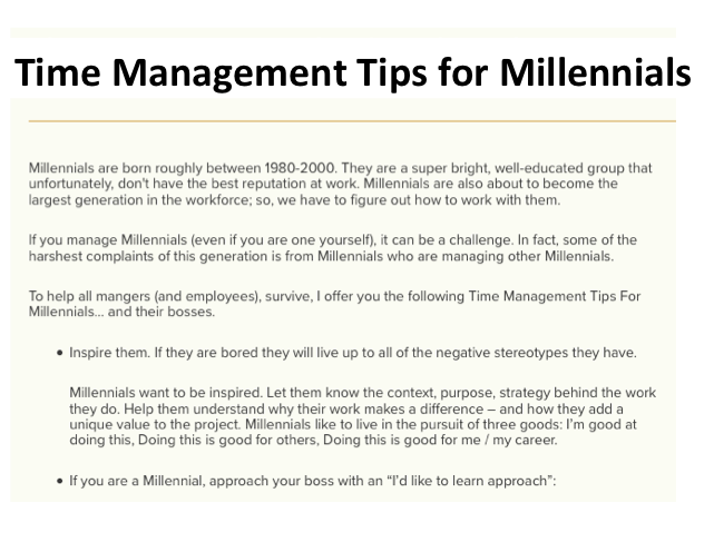 Time management Tips for millennials