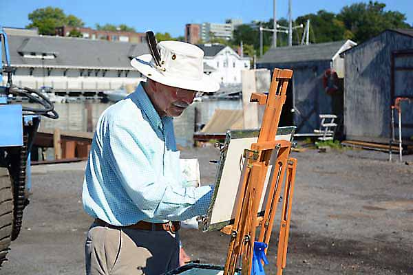 Gilbert Jordan, Signature Artist painting a watercolor at the 2014 GVPAP annual meeting