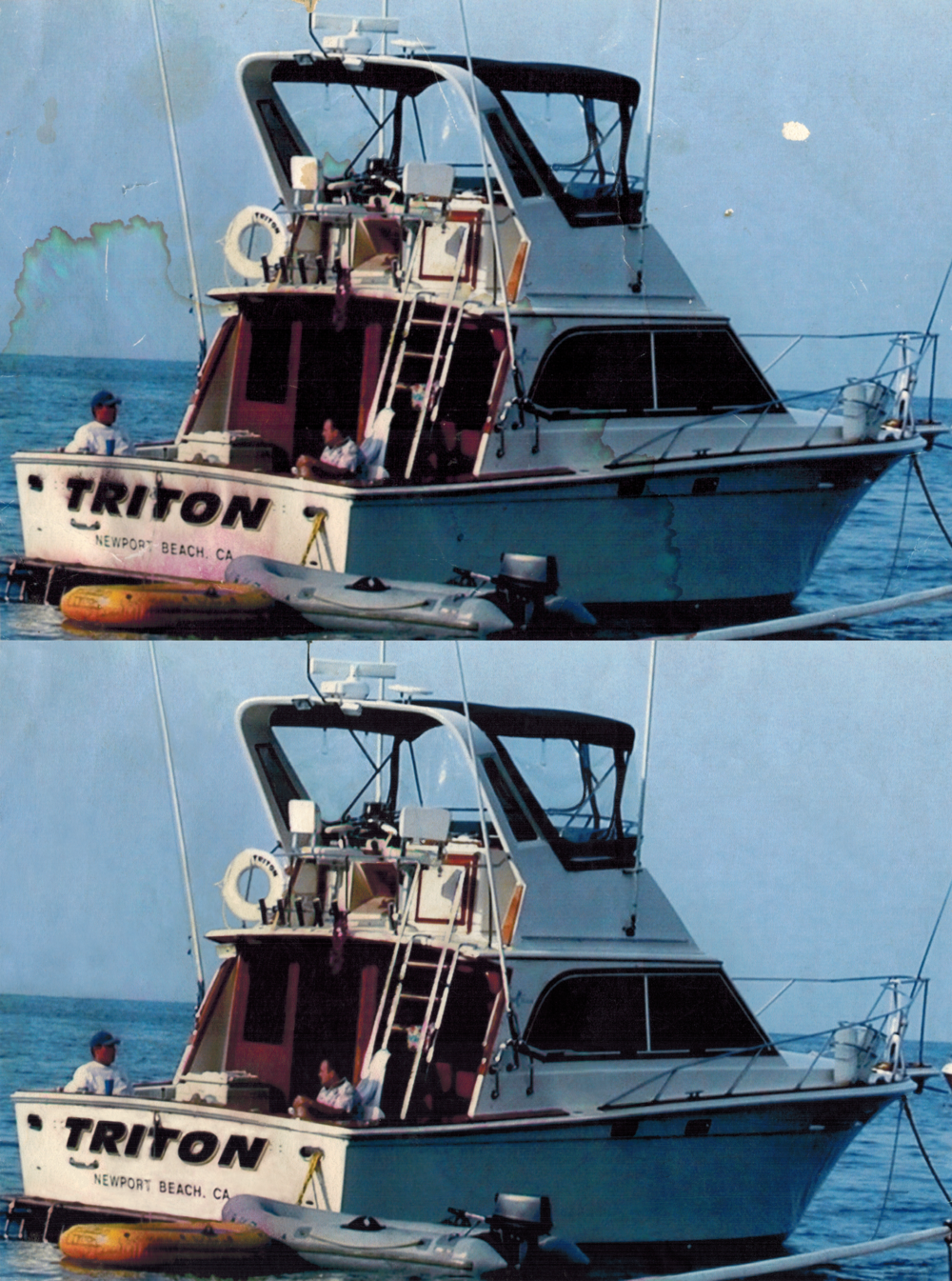 Water-damaged photo (top), digitally restored photo (bottom).