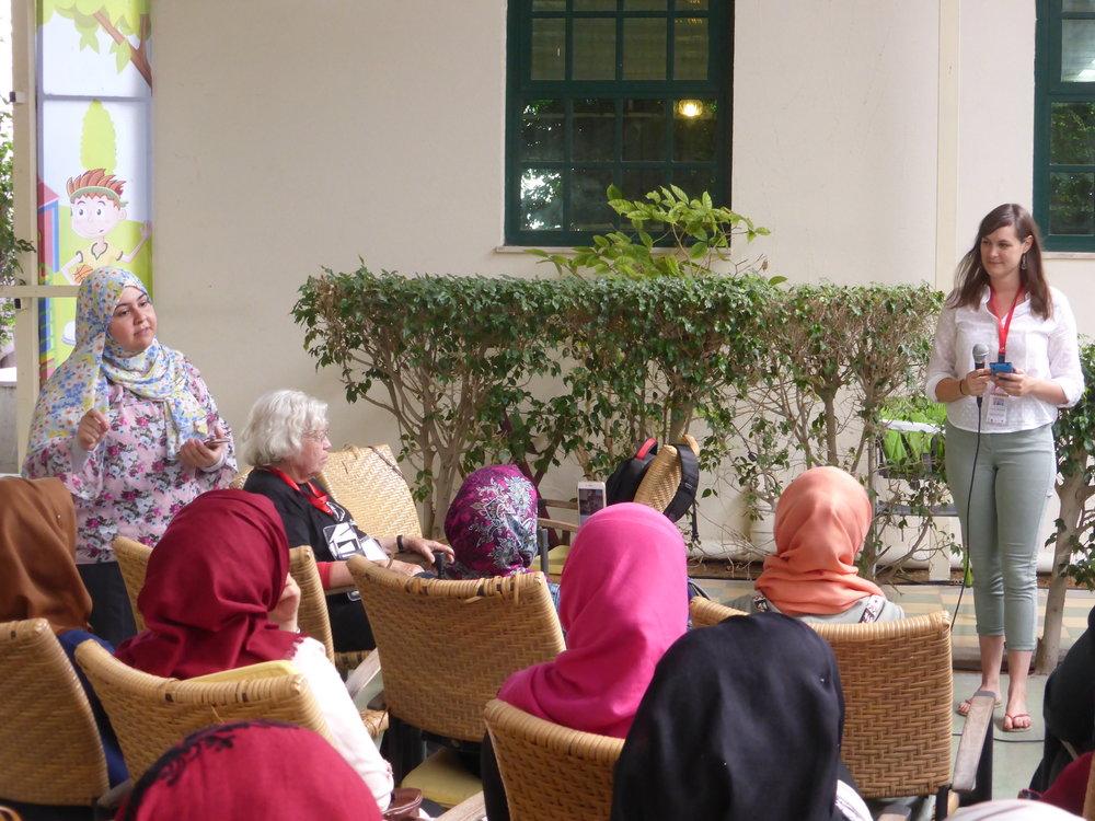 Dalia, GSG's social media coordinator, translating for me at the Gaza Geekettes meetup