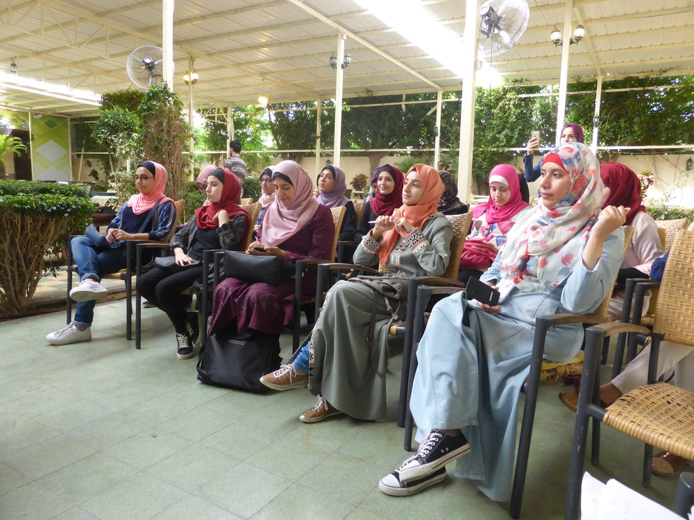 Some of the amazing women taking part in the Gaza Sky Geeks bootcamp