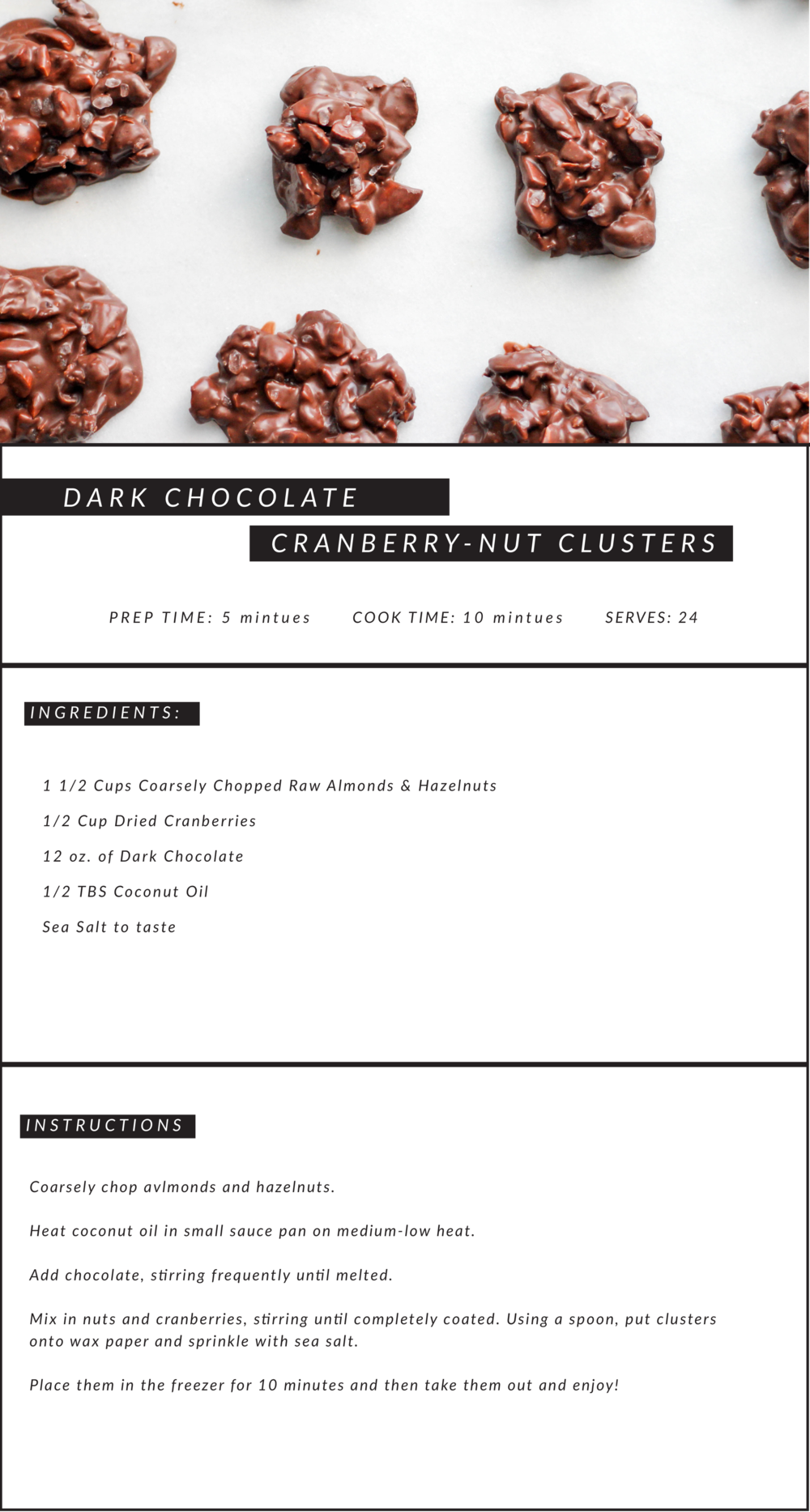 Dark Chocolate Cranberry-Nut Clusters | Jennifer Diaz