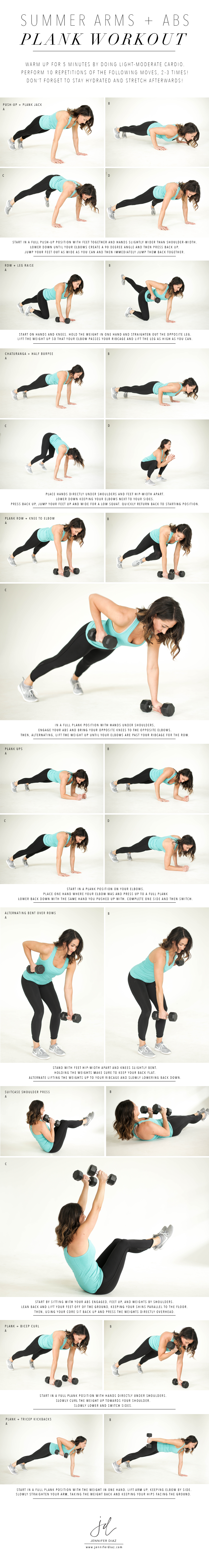 Summer Arms + Abs Plank Workout | Jennifer Diaz | Photos by Kelsey Cherry