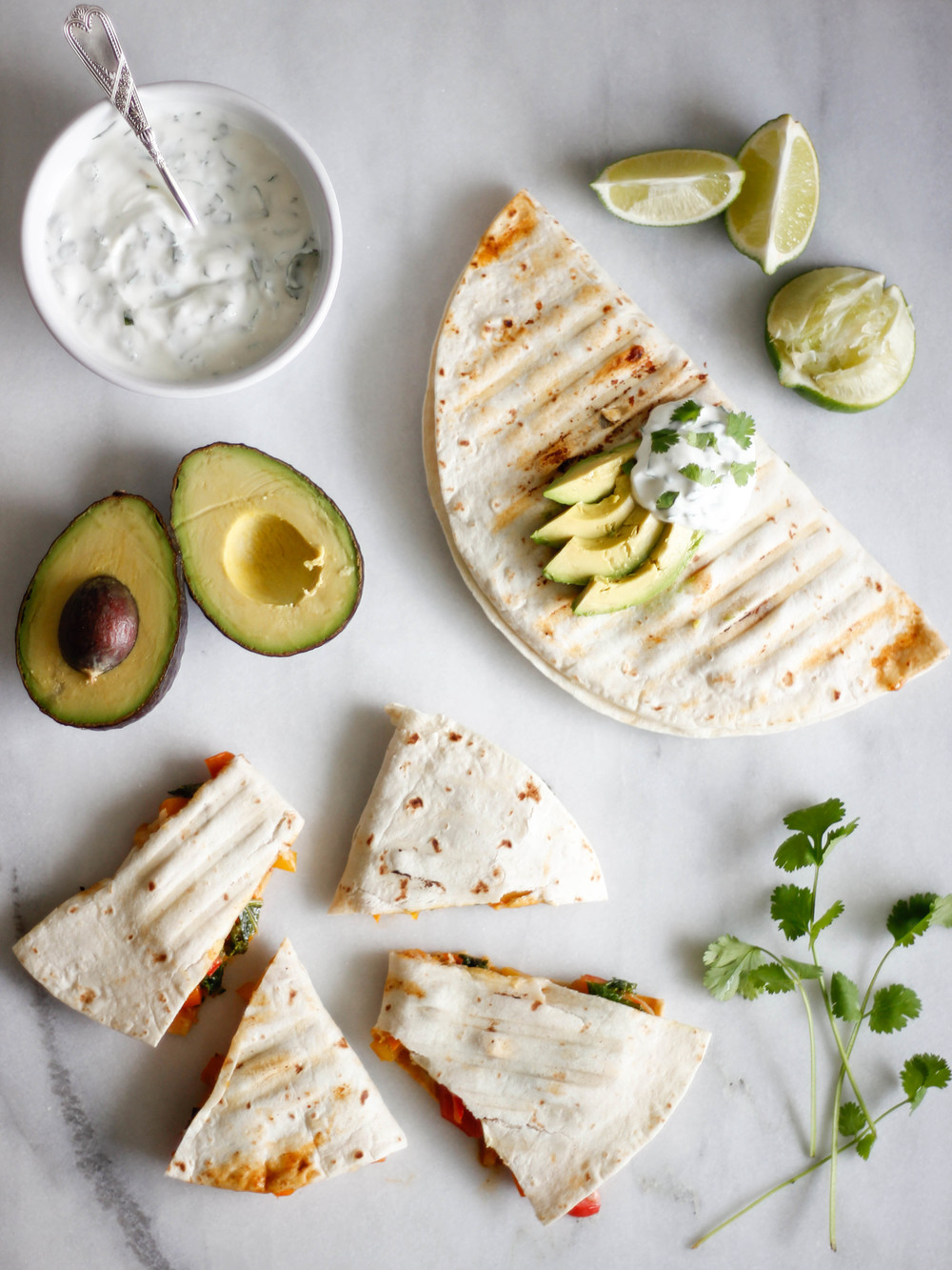 Shrimp Fajita Quesadillas with Cilantro Lime Sauce | Jennifer Diaz