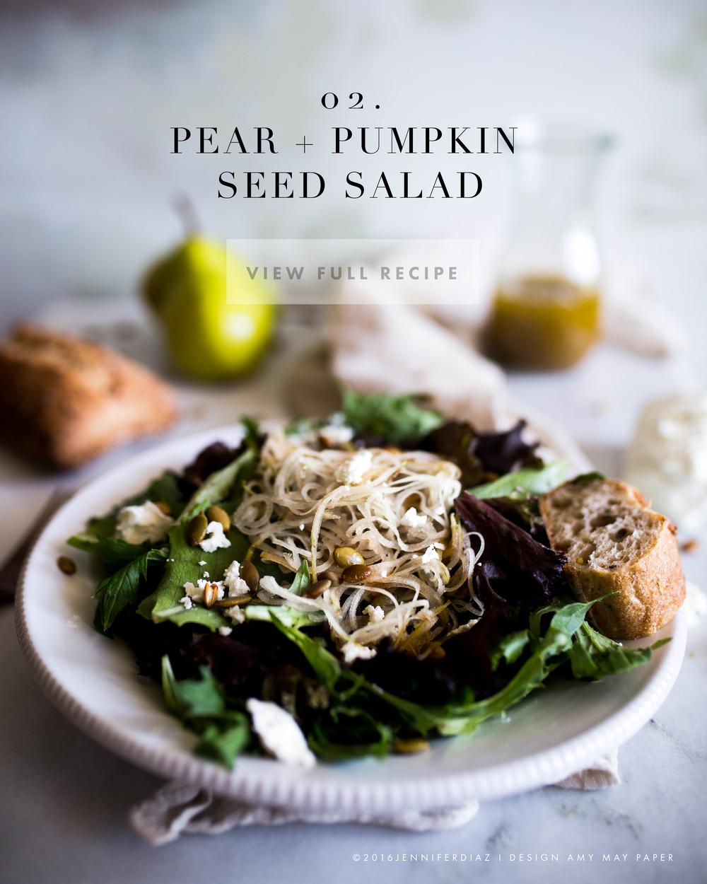 ©2016 Jennifer Diaz I Pear + Pumpkin Seed Salad with Amy May Paper