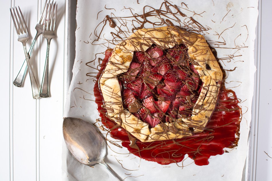 Chocolate Hazelnut Strawberry Galette by KJ and Company