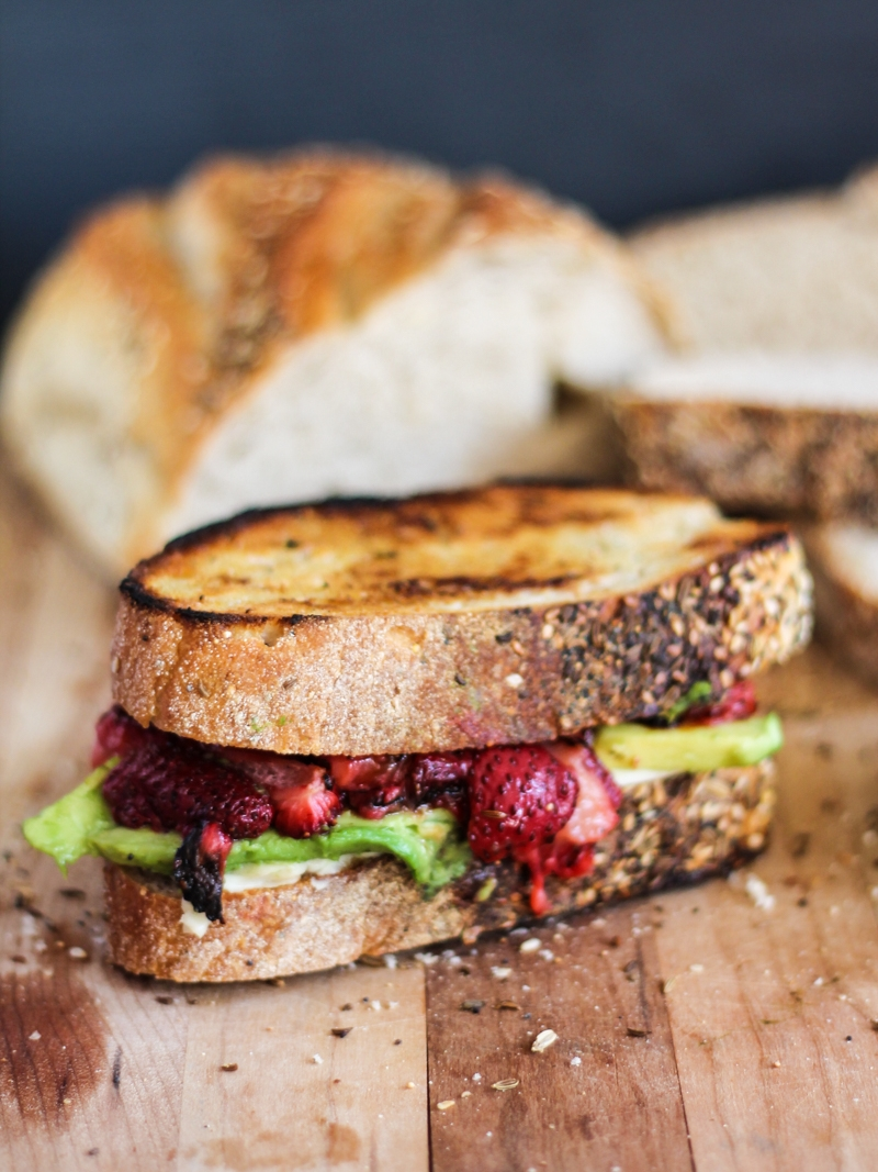 Roasted Strawberry, Avocado and Mozzarella Grilled Cheese by Ambitious Kitchen