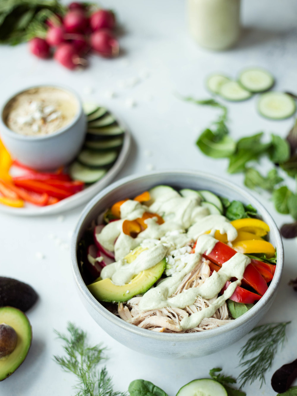 Greek Salad with Cashew Tzatziki Dressing | Jennifer Diaz | Vegan Tzatziki Dressing | Vegan Salad Dressing | Summer Salad Idea | Filling Well-balalned Meals