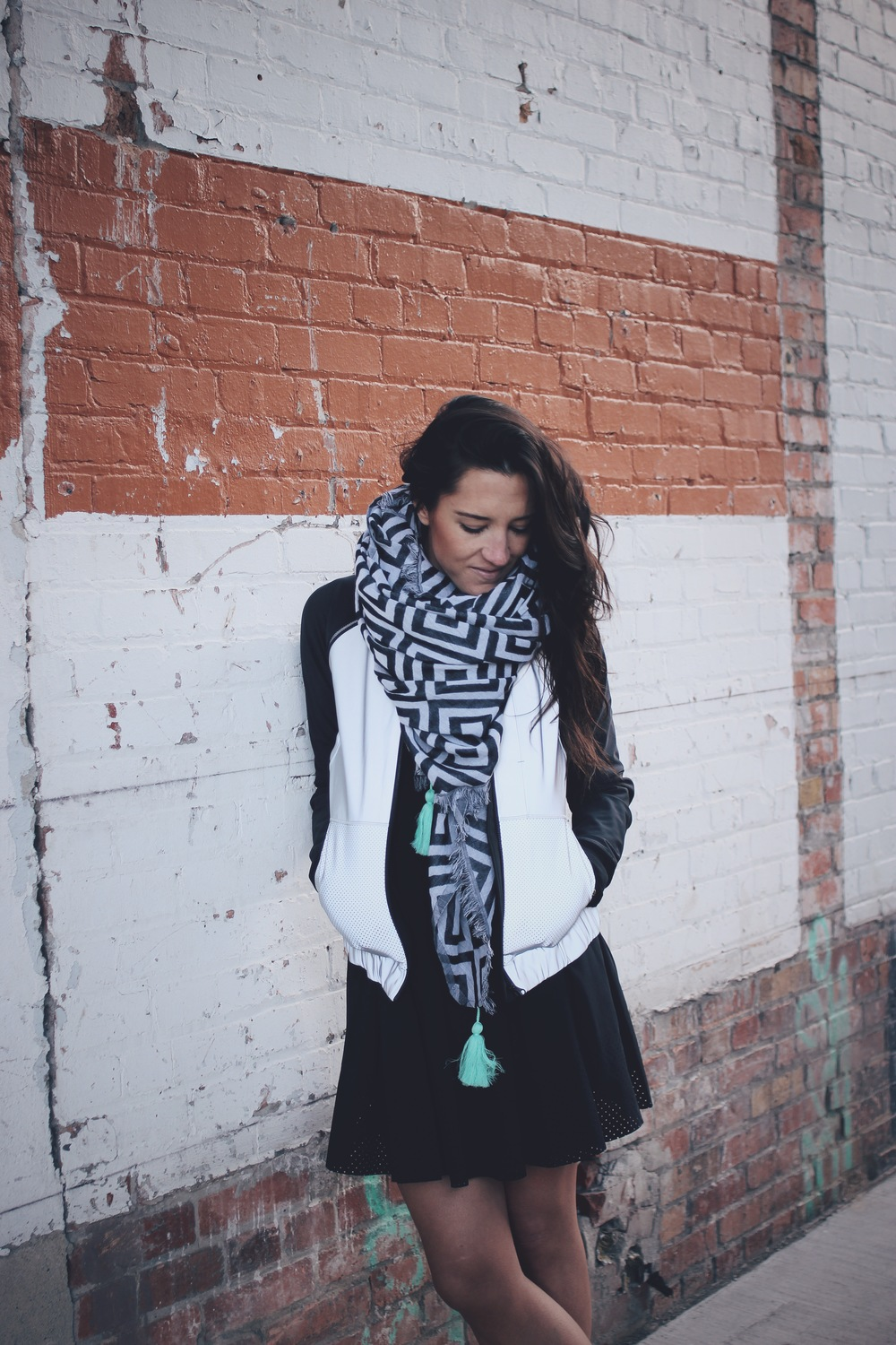 away dress + bright bomber + find your om scarf | lululemon | www.oilandgrain.com