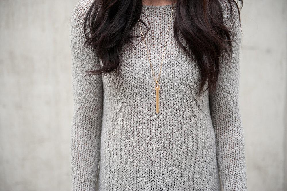 Grey Sweater - Rebel Pendant - close up - Oil & Grain.JPG