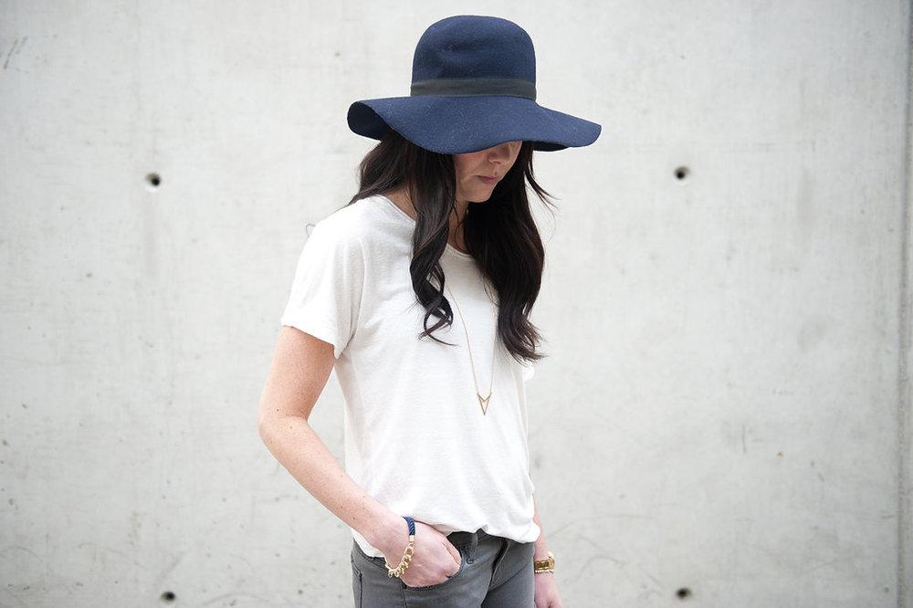 white t-shirt with floppy hat - oil & grain