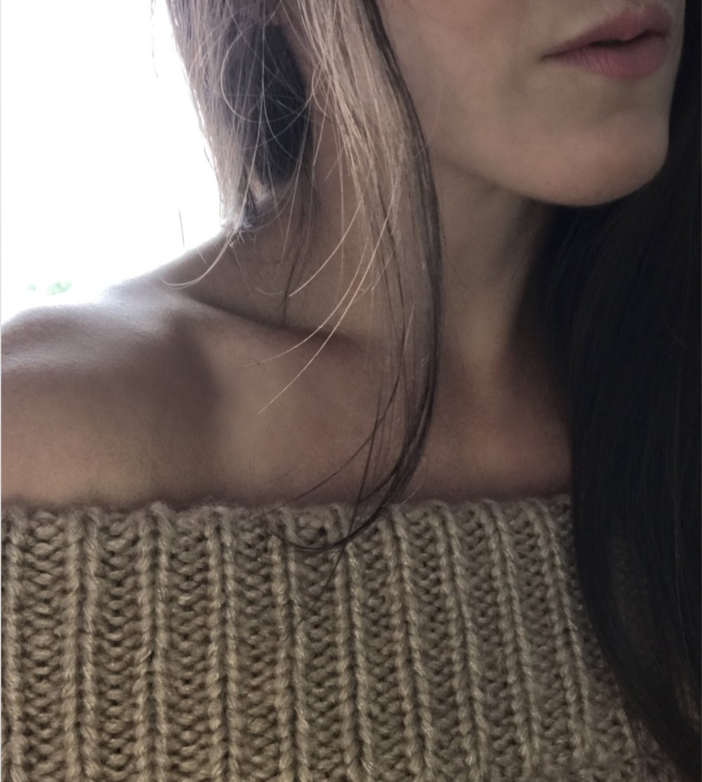 off the shoulder sweater on Oil & Grain