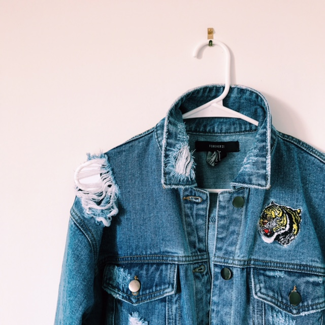 Oversized Denim Patch Jacket on Oil & Grain