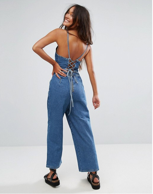 Wearing this denim jumper - Bra or no bra, bare feet, head to toe denim. That's what this kitchen calls for.