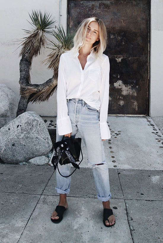 Wear this - to brunch any weekend, any time of year (unless you're knee deep in snow, then throw Uggs on instead of leather sandals). Keep it loose & classy in casual white + boyfriend jeans + black leather accessories.