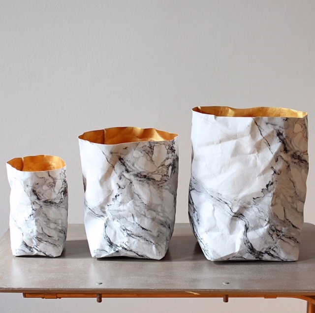 GET THE JAW DROP READY - Washable.Paper.Bags.Talk about sustainable, Made from 100% cellulose & dyed in shades to up your decor game. My favroites; the marble (shown here), gold, & matte black. Put plants in them, extra pillows & blankets or like me, store your yoga mats & rollers in one. Shop the full collection on Etsty here.