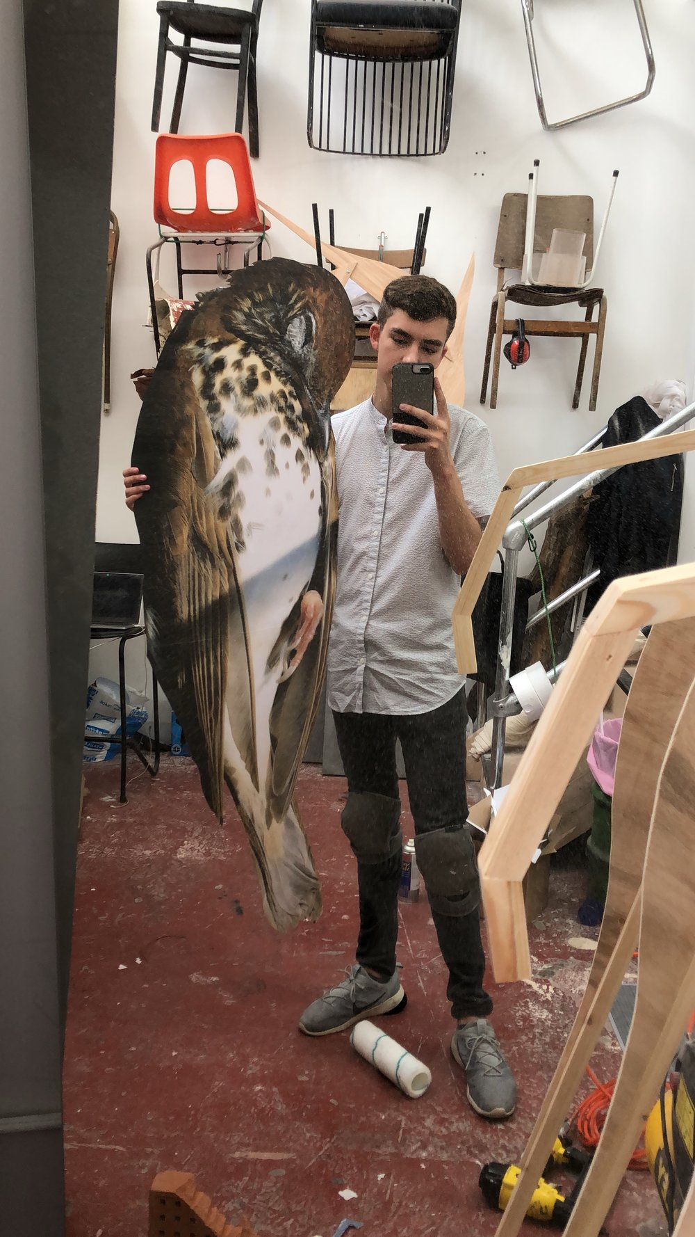 Me with a giant bird we used for a prop the next day