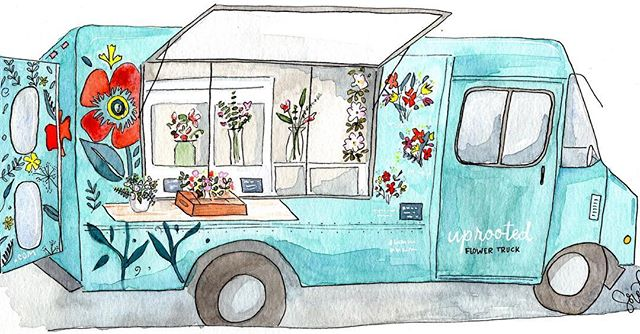 So appreciative of this watercolor of our truck by @prayercraftstudio Beautiful work, thank you Sored🚐🎨🌸 We'll be opening in the UWS on  89th & Broadway 10am-8pm✨ • #uprootedflowertruck #watercolor #art #nycflorist #uws #fall #popup #weekend #flowerdeliverynyc