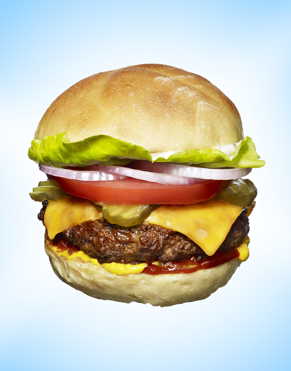 Cheeseburger with Lettuce, Tomato, and Onion